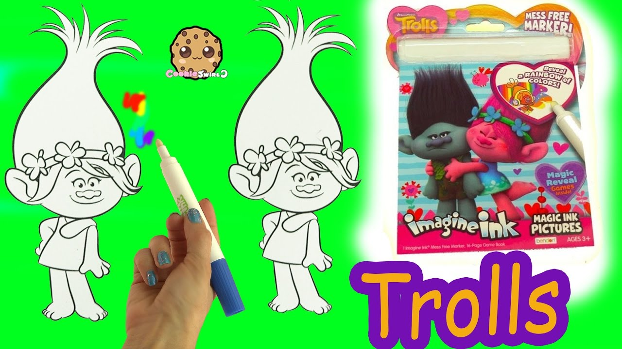 dreamworks trolls poppy twins magic imagine ink rainbow color pen surprise picture coloring video - Magic Ink Coloring Books
