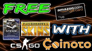 How to Get Free PUBG skins, CS: GO skins, Amazon gift cards, and Steam Cards 2018(Free with Coinoto)