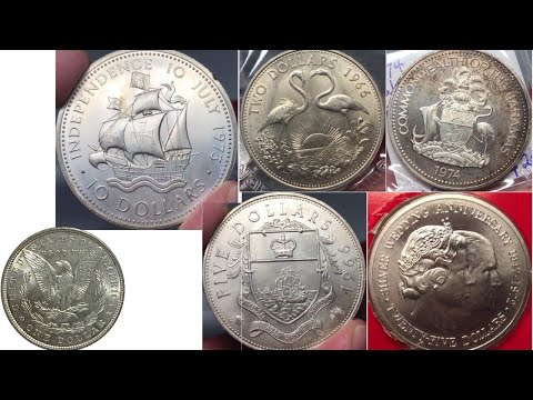 Large World Silver Coins From The Bahamas And Cayman Islands