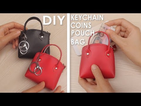 DIY MINI HANDBAG KEYCHAIN & COINS POUCH TUTORIAL // Red PU Lather Cute Zipper Bag