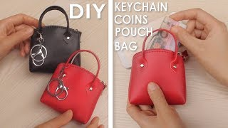 DIY MINI HANDBAG KEYCHAIN & COINS POUCH TUTORIAL // Red PU Lather Cute Zipper Bag
