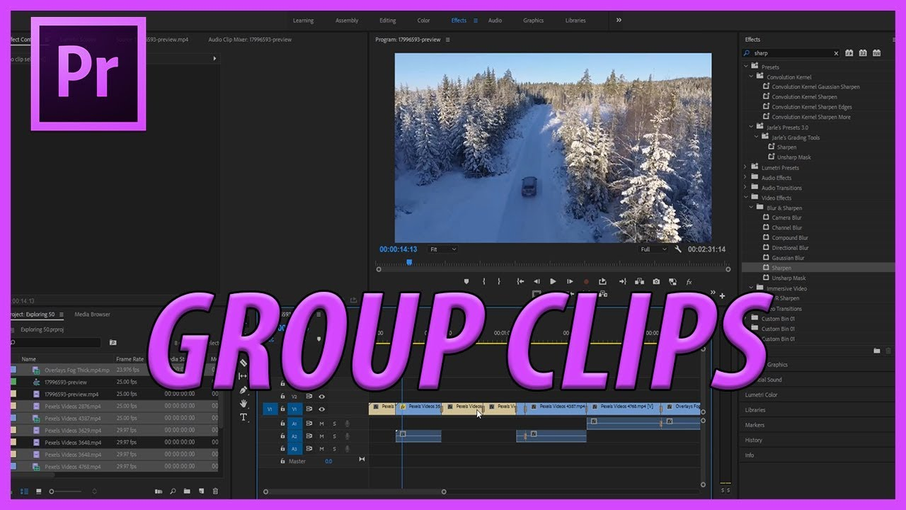 How to Group Clips in Adobe Premiere Pro CC 2018 - AdobeMasters