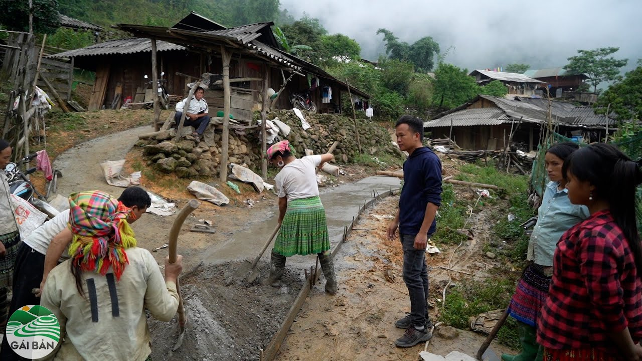 Tà Chơ đổ bê tông đường ngõ vào nhà đã gần xong hết | Đường lên đỉnh Tà Chơ ( T 30 )