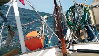 Yena close hauled. 25+ knots wind and steering herself