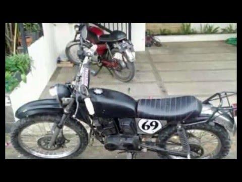 video motor suzuki trs modif vintage trail dengan stang renthal