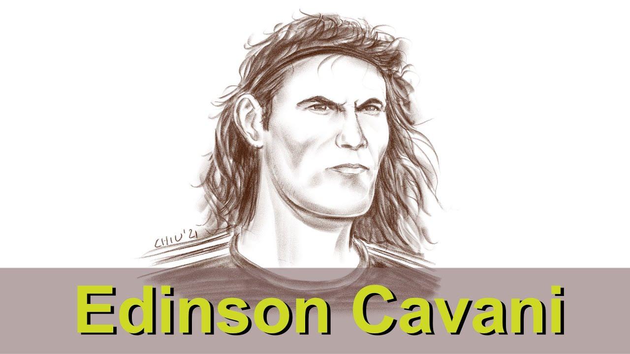 #Shorts Portrait: MANCHESTER UNITED FC striker Edinson Cavani. Time-lapse digital drawing