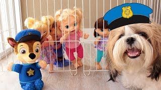 BABY ALIVE FINGE BRINCAR DE SER POLICIAL! DOG BRENO SALVA O DIA - PRETEND PLAY WITH POLICE COSTUME