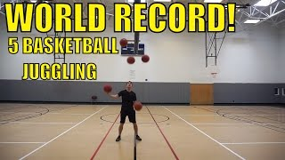 WORLD RECORD: 5 Basketball Juggling // Josh Horton | Guinness World Record