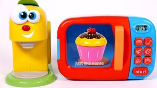 Learn Colors with Microwave and Coffee Machine Kitchen Toy Appliances for Children