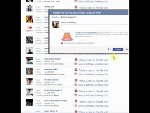 Birthday greeting Throw CAKE ON FACEBOOK WALL