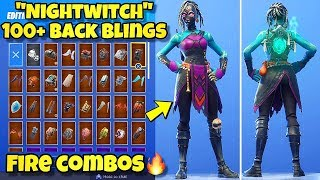 "NEW ""NIGHTWITCH"" SKIN Showcased With 100+ BACK BLINGS! Fortnite Battle Royale (NIGHTWITCH COMBOS)"