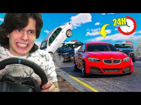 TENTANDO JOGAR GTA 5 SEM BATER COM VOLANTE POR 24 HORAS!!