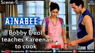 Repeat youtube video Bobby Deol Teaches Kareena to Cook (Ajnabee)