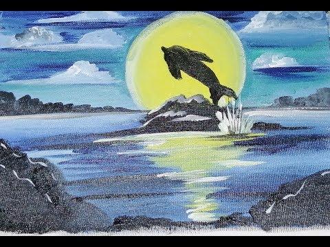 Easy Dolphin Sunset Seascape Acrylic Painting, || Acrylic Painting | Simple Landscape Painting