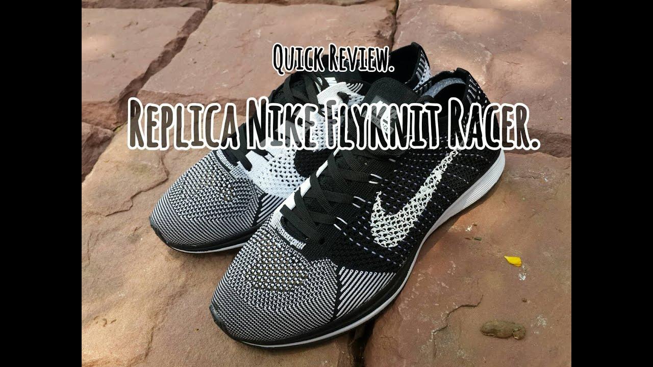 2165a705f3730 Replica Nike Flyknit Racer Black White   On feet.HD 1080 - YouTube