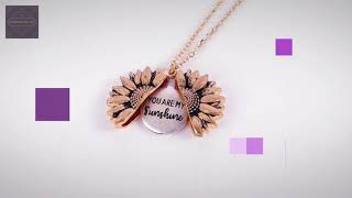 Gold Necklace Custom You are my sunshine Open Locket Sunflower Pendant 10/26/2019 12:44