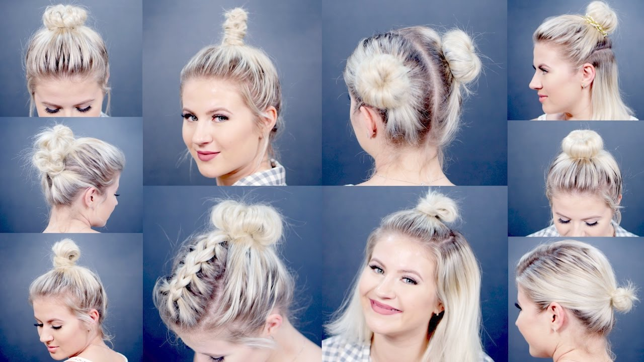easy different bun hairstyles for short hair milabu