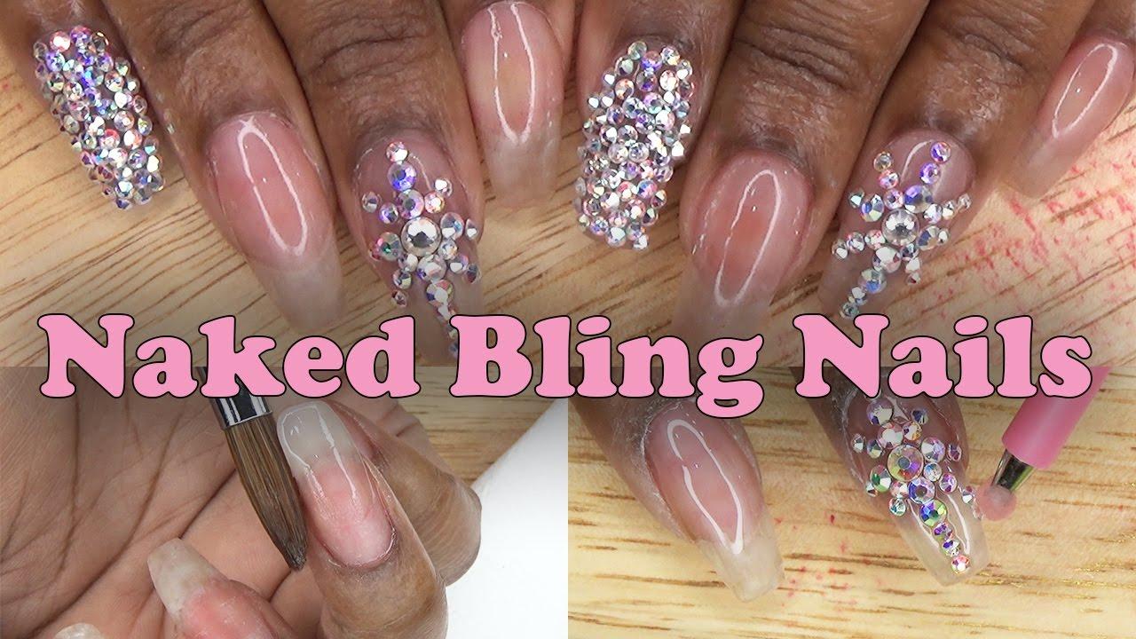 Acrylic Nails Naked Bling Nails - Natural Nail Acrylic Overlay ...