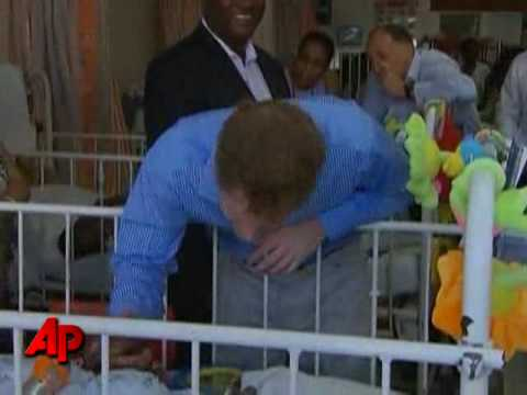 Raw Video: Prince Harry Visits Barbados Hospital