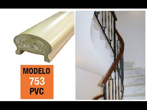 Pasamano pvc moldurado canal 40x10 youtube - Escaleras de hormigon ...