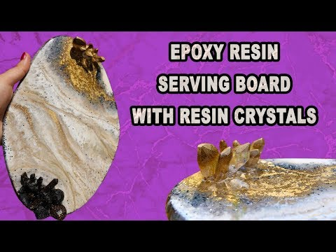Simple DIY / Epoxy Resin serving board /tray with Self made Resin Crystals.