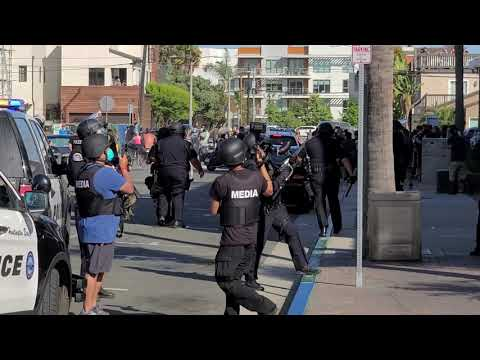 Huntington Beach Police Shooting Rubber Bullets