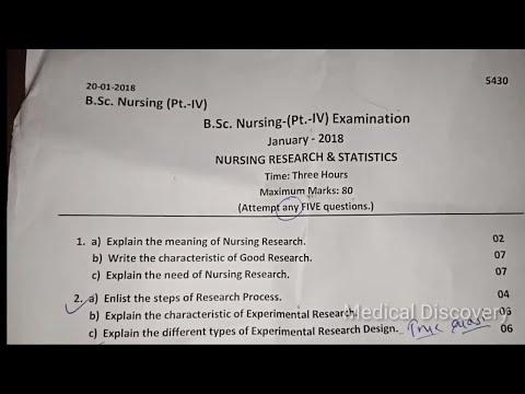Nursing Research & Statistic Question Paper B SC Nursing 4th