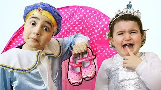 Celina pretend to be a princess with Hasouna - سيلينا وحسونة سندريلا