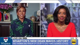 On her first day as dean of the wharton school, erika james joins robin roberts for an interview @abc's @good morning america. topics discussed include pr...
