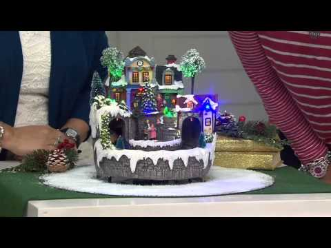 Plow & Hearth Lighted Musical Village Scene with Revolving Train on QVC