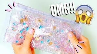 DIY LIQUID GLITTER WATERFALL PENCIL CASE | Back to School Supplies