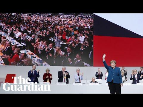 Angela Merkel receives standing ovation after farewell speech