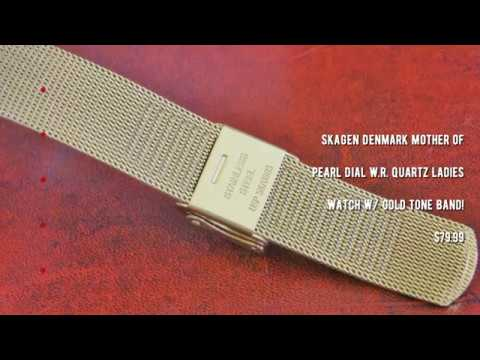 Manolo Watches - Skagen Denmark Mother Of Pearl Dial W.R. Quartz Ladies Watch W/ Gold Tone Band!