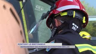 Montigny-le-Bretonneux : entraînement des pompiers en conditions réelles