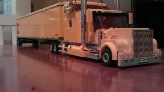 Lego custom trucks. Kenworth 18 wheeler, low loader and wrecker.