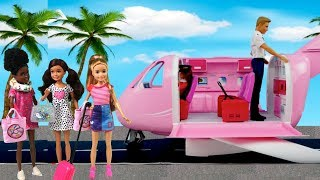 Barbie Stacie Airplane Travel Morning Routine - Packing Suitcase for School Trip!
