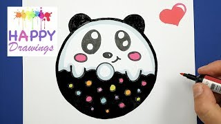 HAPPY DRAWINGS : HOW TO DRAW AND COLOR CUTE BABY PANDA DONUT