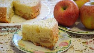 Шарлотка классическая.как приготовить шарлотку.(5 яиц 5 ст.л. сахара 5 ст.л. муки 1 ст.л. крахмала ванилин. 2 крупных яблока., 2016-02-09T09:18:57.000Z)