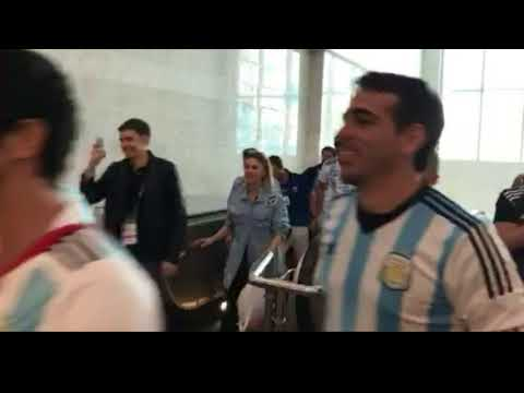 Argentina fans arriving at Moscow Airport for the 2018 World Cup
