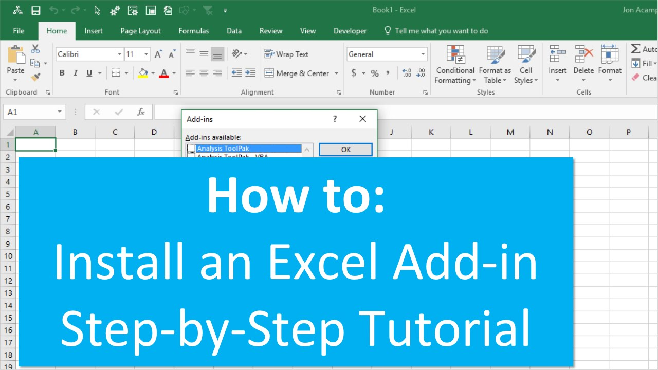 How to install an excel add in also youtube rh