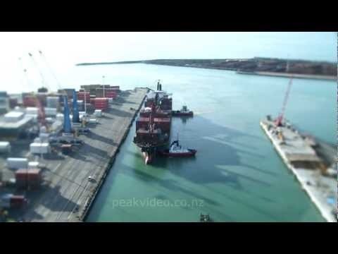 Timelapse of Napier Port with tilt shift effect