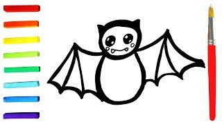 Baby bat coloring and drawing for Children