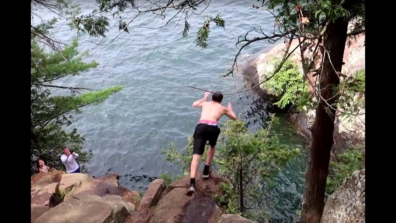 3K In Miles >> Lake George Cliff Jumping CALF PEN - YouTube