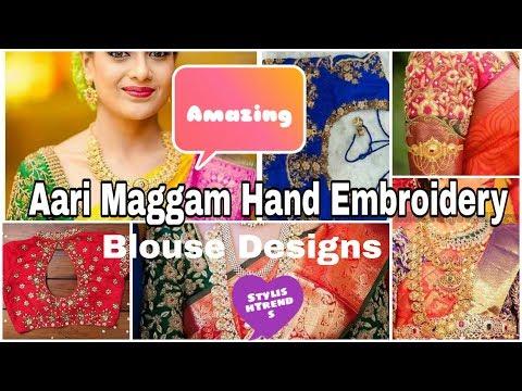Latest Aari Maggam work Bridal blouse design,kundans,mirror,jhumka,emerald stones