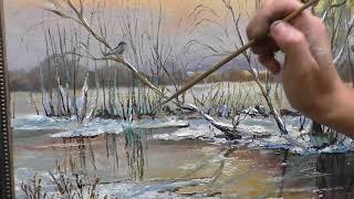 Как написать зимний пейзаж. Живопись маслом, занятие по живописи.