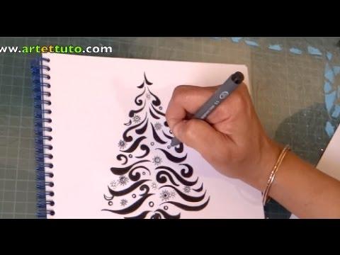 Doodle christmas tree doodle sapin de no l youtube - Sapin de noel a dessiner ...