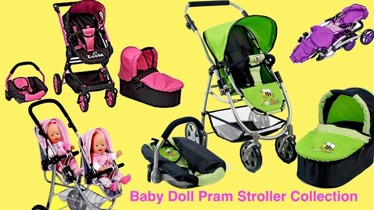 Baby Dolls 3 In 1 Prams Stroller Car Seat Twin Jogger Baby Aannbell Baby Born