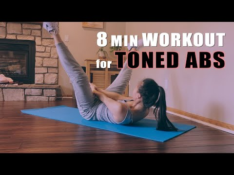 8 MIN TONED ABS at home workout | Lose Belly Fat | Get Flat Stomach (ft. Positions by Ariana Grande)