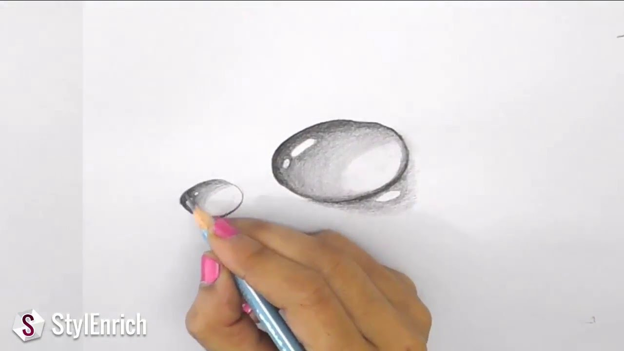 3d drawing art how to draw 3d dew drop on leaf easy pencil drawings youtube