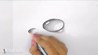 3D Drawing Art : How to Draw 3D Dew Drop on Leaf | Easy Pencil Drawings